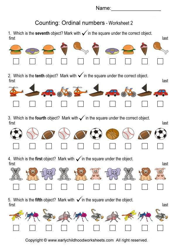 ordinal numbers worksheets – Ordinal Numbers Worksheet for Kindergarten
