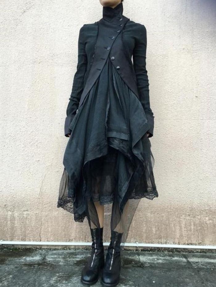 Pin By Deanna Pavlov On Tattoos: Mid-Calf Patchwork Long Sleeve Vintage Asymmetrical Dress