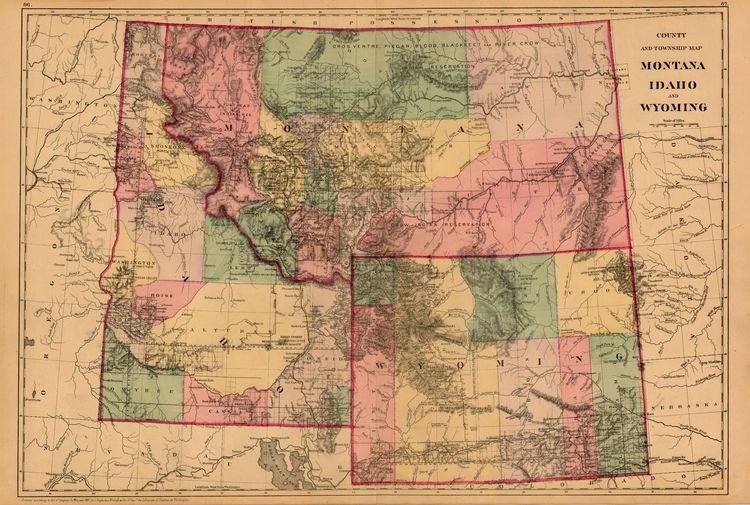 Samuel Augustus Mitchell Jr County And Township Map Montana: Map Of Wyoming And Montana At Slyspyder.com