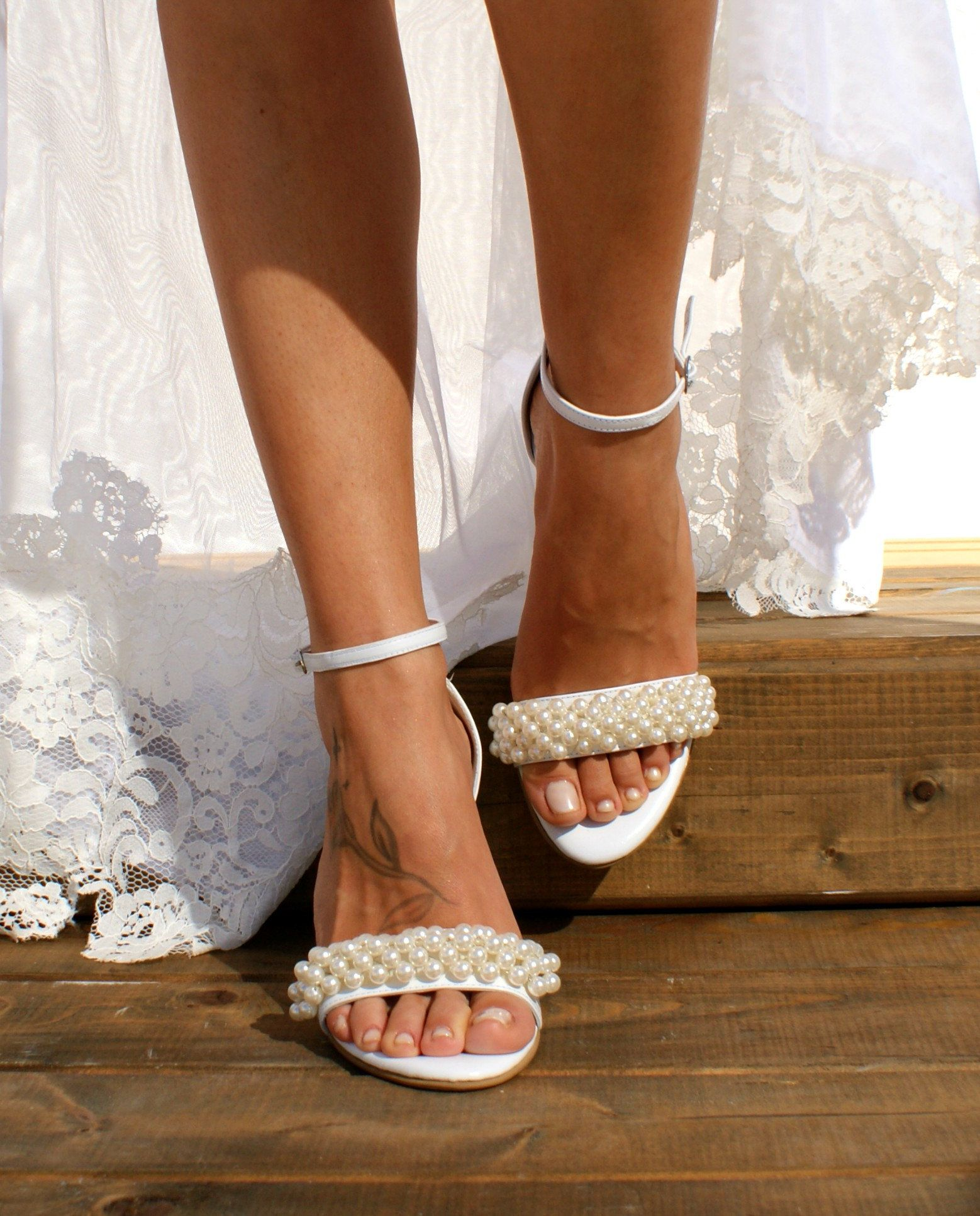Block heel wedding white leather sandals/ Handmade white