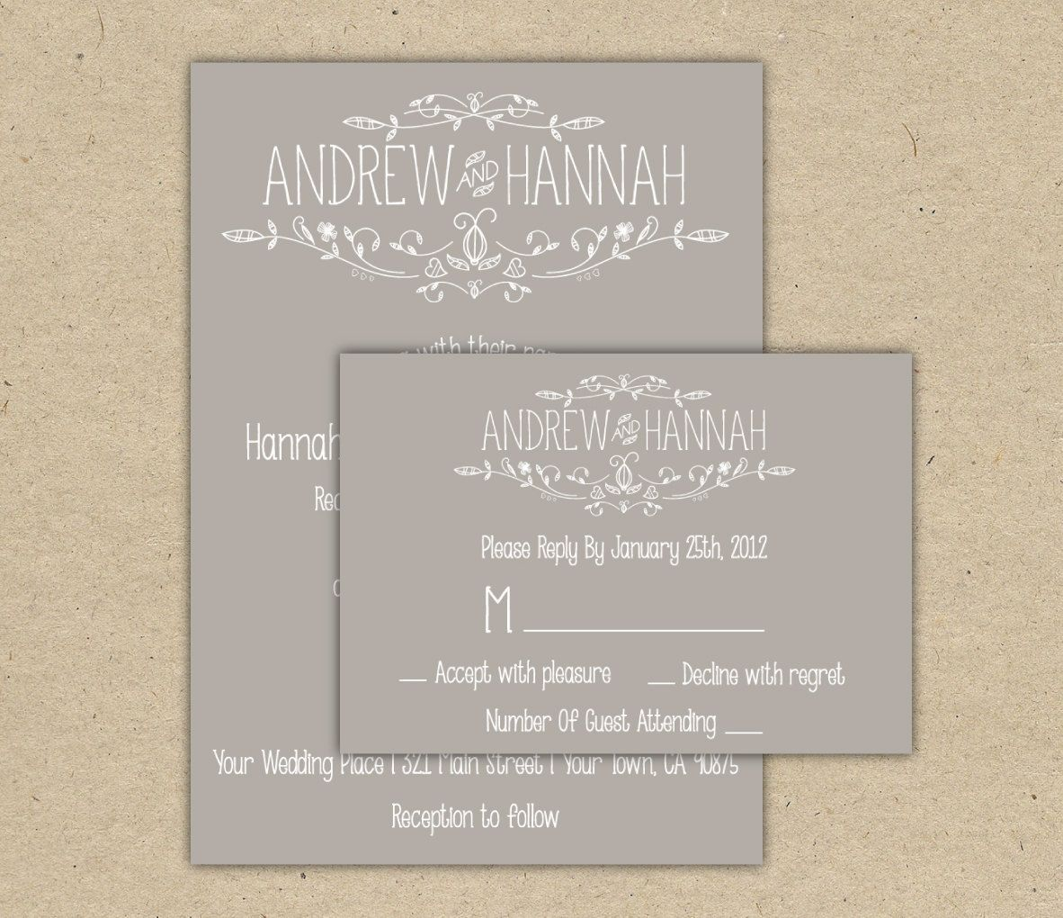 Vintage wedding invitation and rsvp p r i n t e d country chic