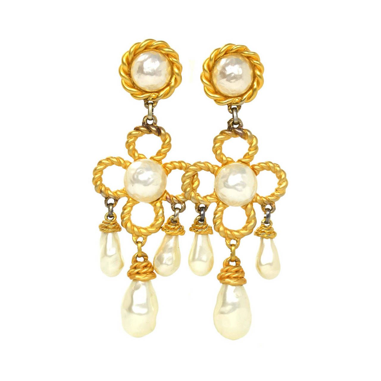 Chanel Vintage 1970s 1980s Large Pearl And Gold Chandelier Earrings