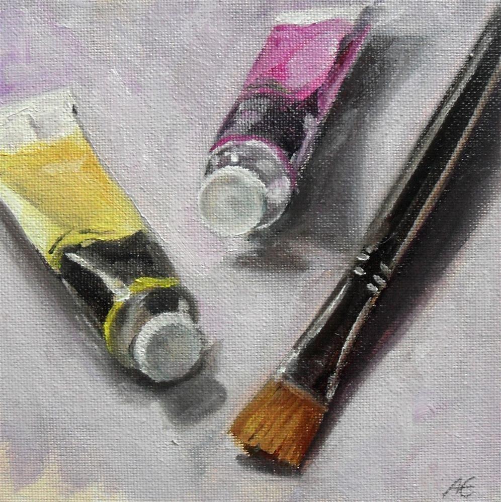 Yellow and Magenta original fine art by Anja Essler