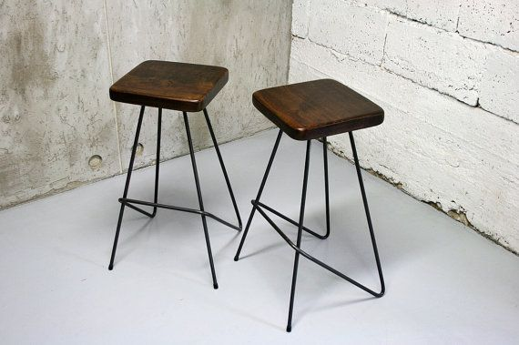 Bar Stool Industrial Stool Kitchen Stools Counter Stool Pure Oak And Steel Minimal Design Handcrafted By Nortre Dark Lower Version Con Imagenes Taburetes Modernos Taburetes De Bar Taburetes Cocina