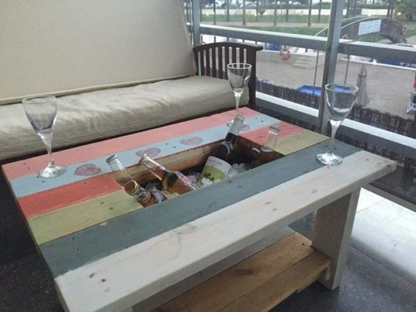 Pallet Coffee Table With Recessed Ice Chest Pallet Projects Pallet Diy Pallet Projects