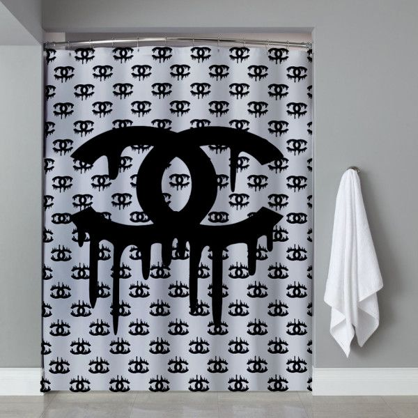 Coco Chanel Black Melt Shower Curtain Shower Curtain Shower