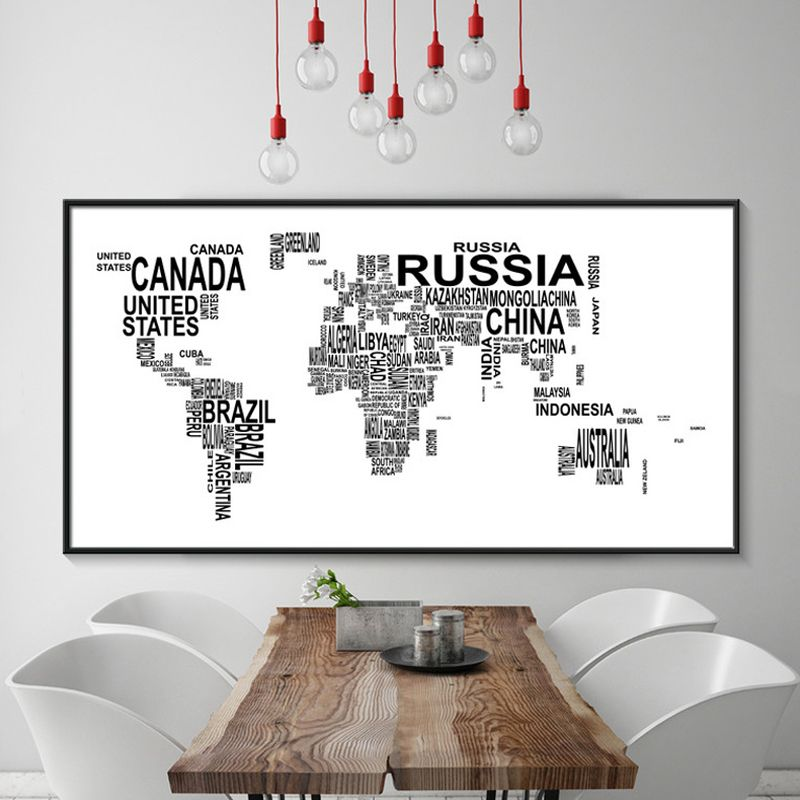 Modern canvas painting world map wall art poster quadros black and modern canvas painting world map wall art poster quadros black and white wall pictures for living gumiabroncs Image collections