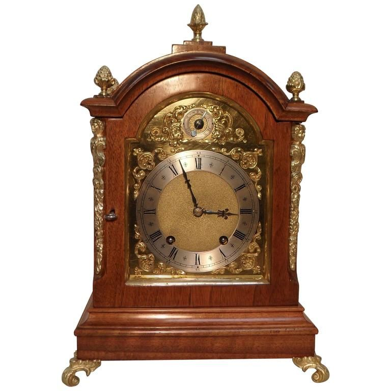 C1890 German 19th Century Walnut Bracket Clock By W Bracket Clocks Table Clock Clock