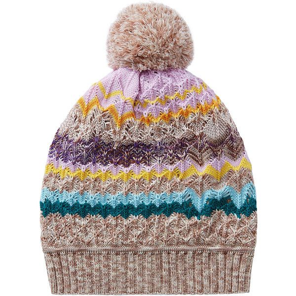 9ed6f7180e2 Missoni Wool-Blend Zigzag Print Hat (190 CAD) ❤ liked on Polyvore featuring  accessories