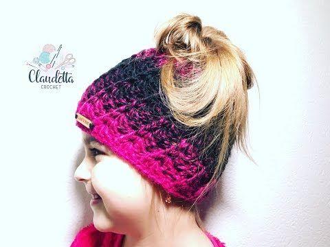 Einfache Mütze mit Zopföffnung Kinder & Erwachsene