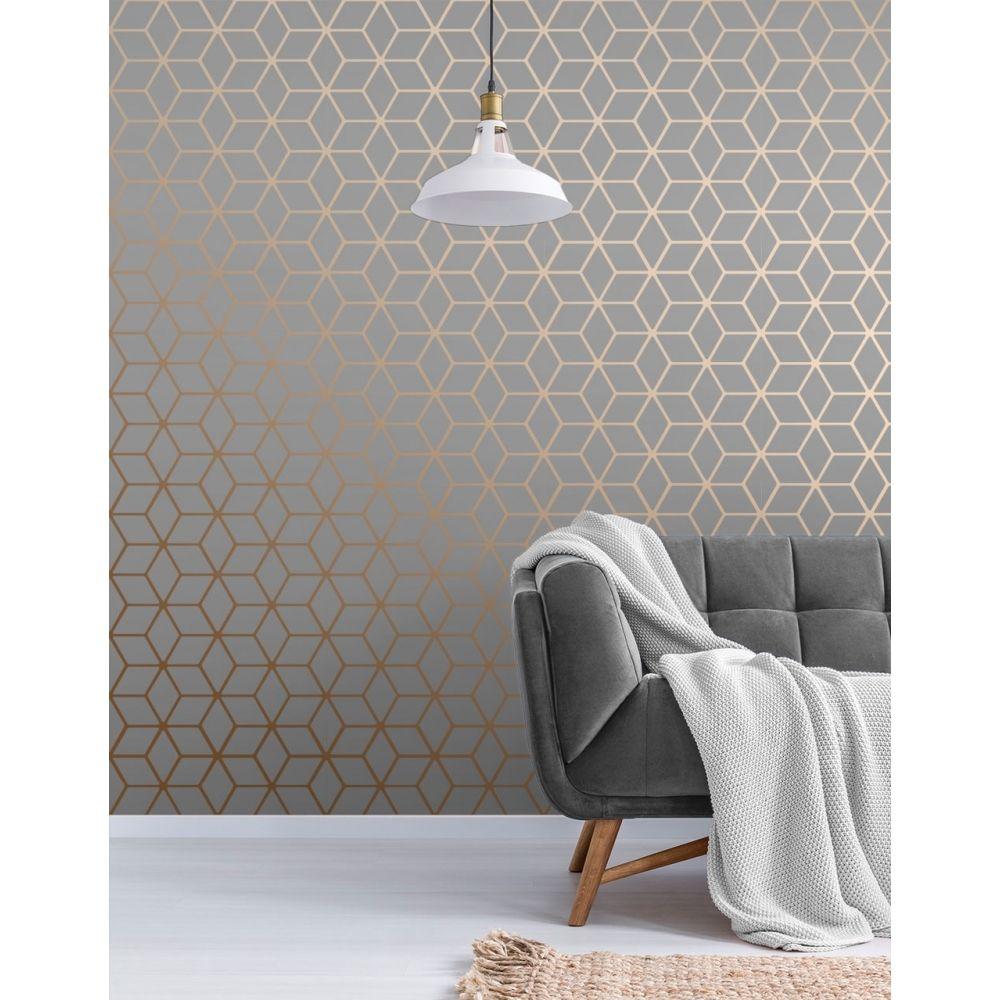 Cubic Shimmer Metallic Wallpaper Grey Copper Metallic Wallp