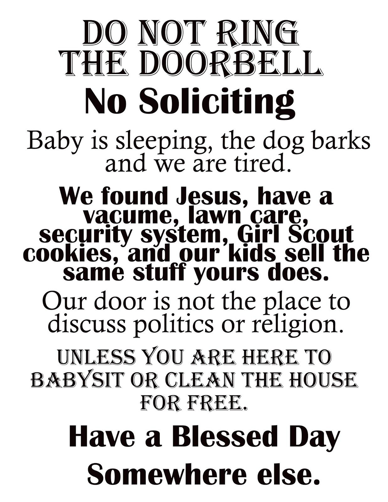 photo relating to Funny No Soliciting Sign Printable referred to as Afloat within just the deep blue: Printable \