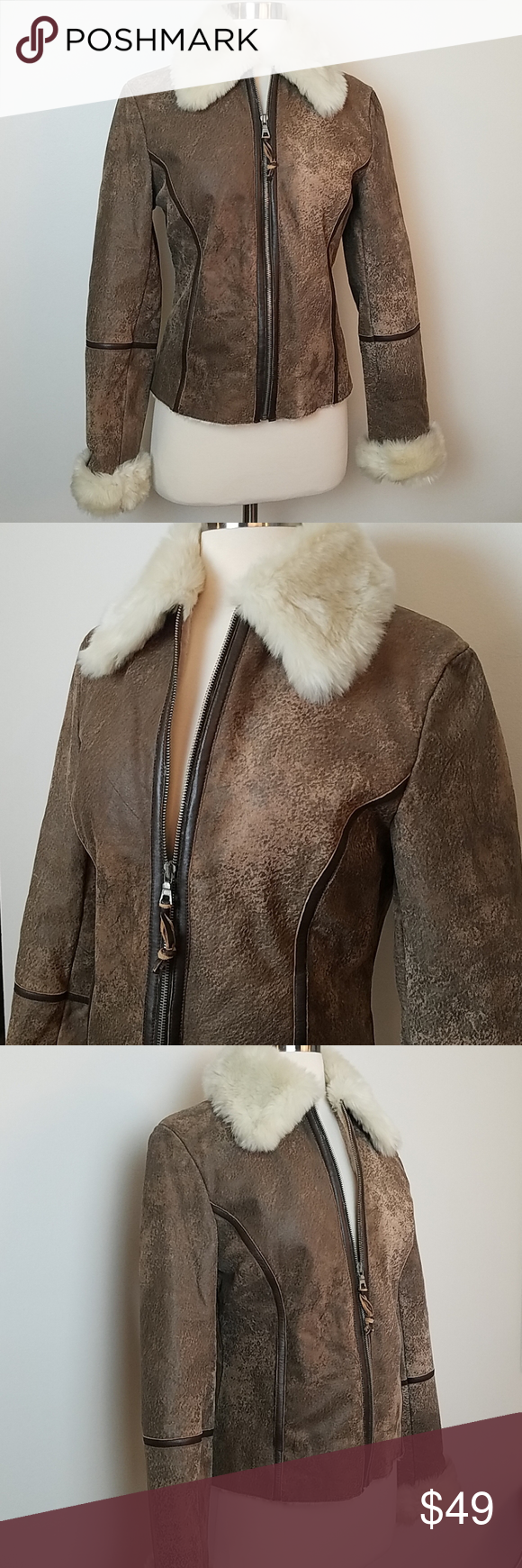 Express leather jacket with faux fur/shearling in 2020