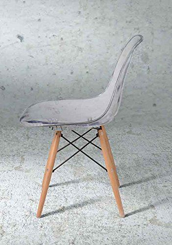 nice TRANSPARENT EAMES STYLE DSW EIFFEL DINING OFFICE CHAIR WOODEN LEG -SINGLE-PREMIUM QUALITY