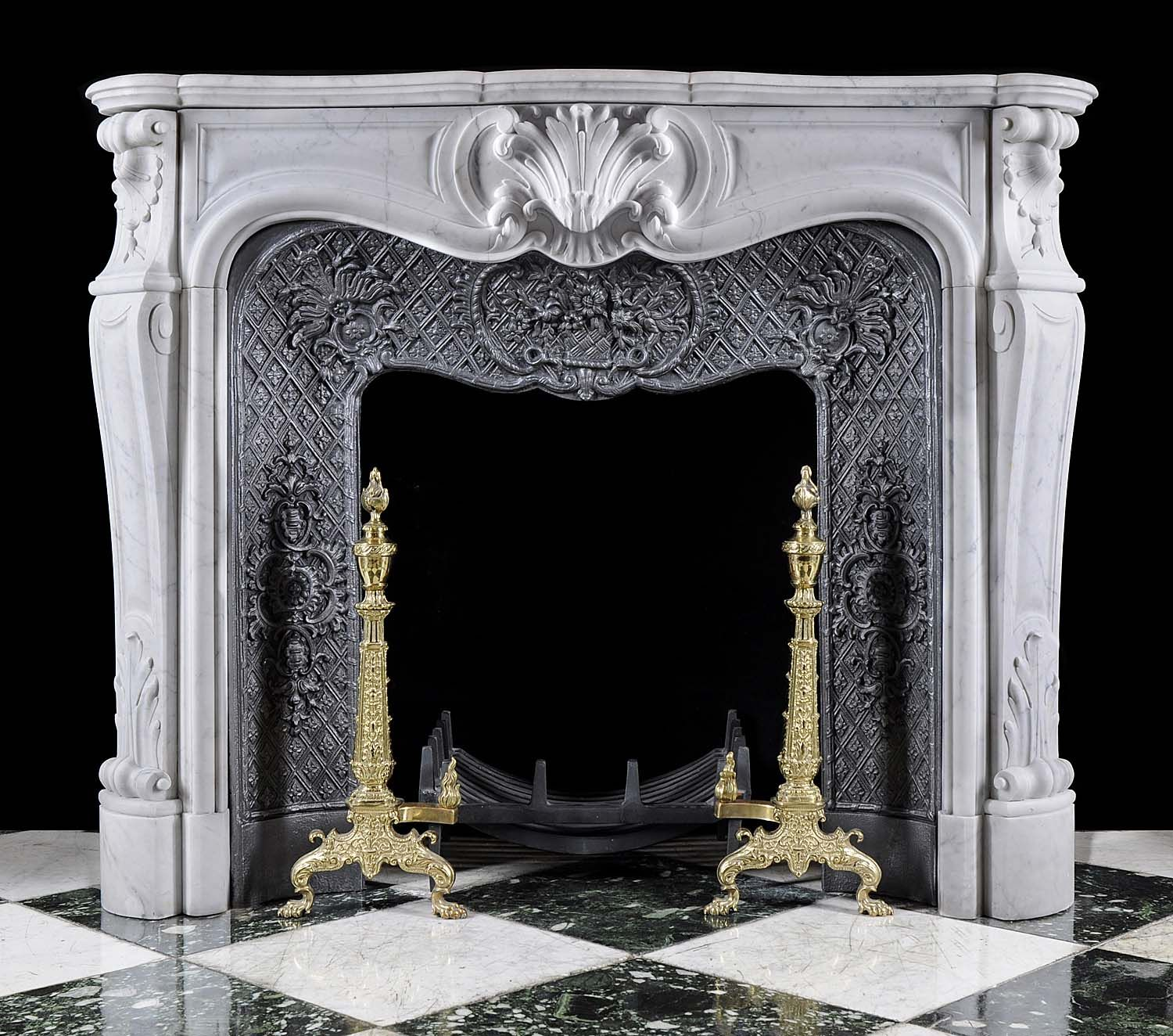 Antique White Marble Louis XV Fireplace Mantel