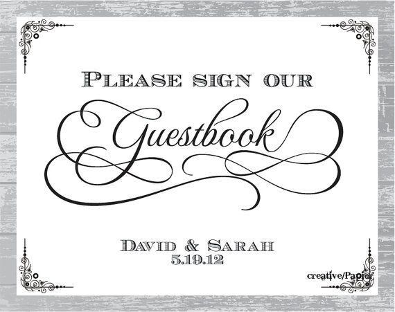 Custom Traditional Guestbook Sign DIY Wedding by CreativePapier - guest book template