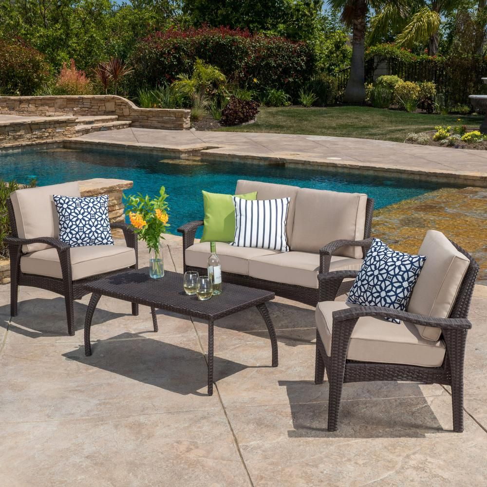 Noble House Honolulu Brown 4 Piece Wicker Patio Conversation Set With Beige Cushions 2615 In 2020 Patio Furniture Fabric Conversation Set Patio Patio Seating Sets