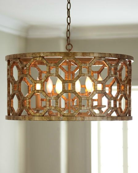 Regatta Collection 6 Light 25 Stained Silver Leaf Drum Chandelier With Genuine Smoked Capiz