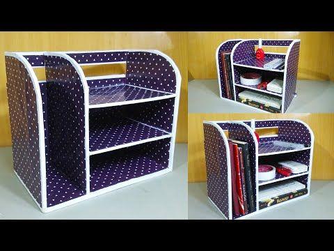 Kerajinan Dari Kardus Membuat Rak Buku Dari Kardus Bekas Easy Organizer Book From Cardboard Youtube Kardus Rak Kerajinan Kardus