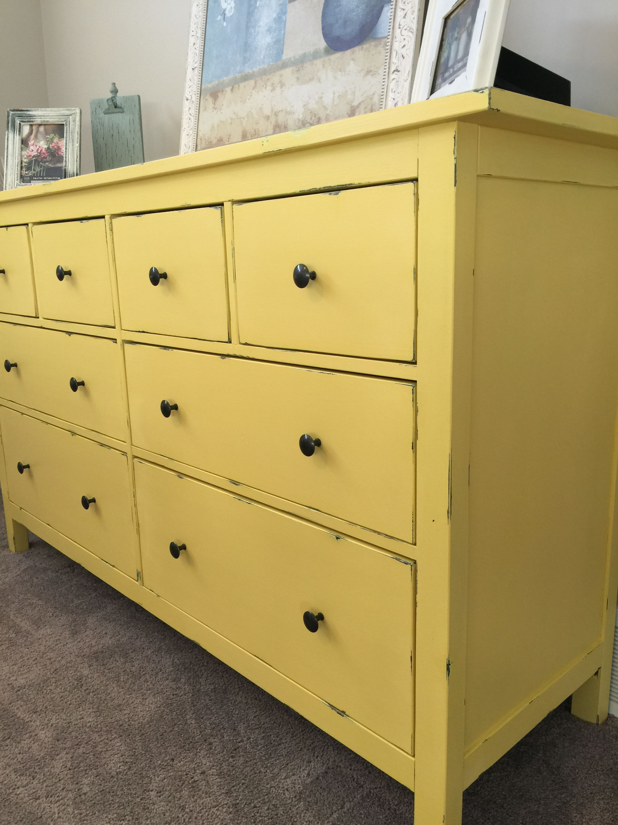 Refurbished IKEA Hemnes dresser Totes doing this for a pop of sunshine in the nursery! Tiny