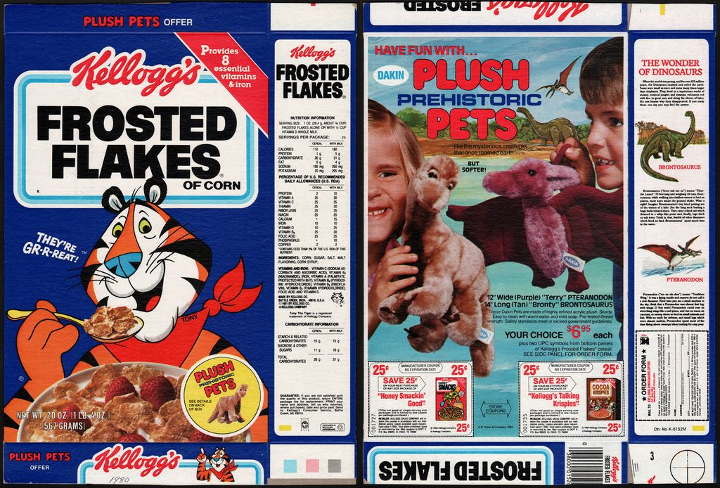 Kellogg's - Frosted Flakes - Prehistoric Plush Pets - cereal box - 1985