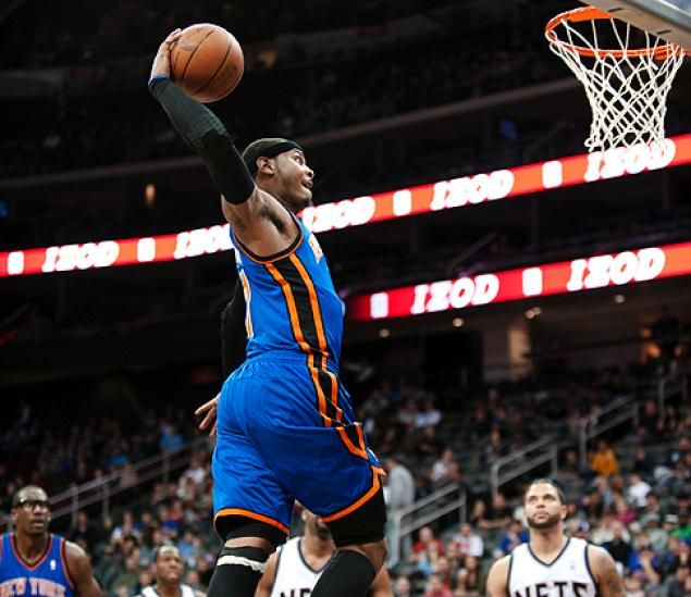 Knicks embrace title talk beat nets 92 83 small forward and nba carmelo anthony dunking carmelo anthony voltagebd Images