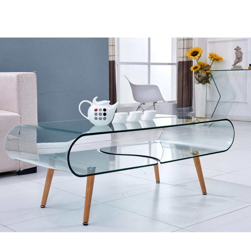 Curved Glass Coffee Center Table Modern Design With Leg For Home Office Modern Table Table Coffee Table [ 1000 x 1000 Pixel ]