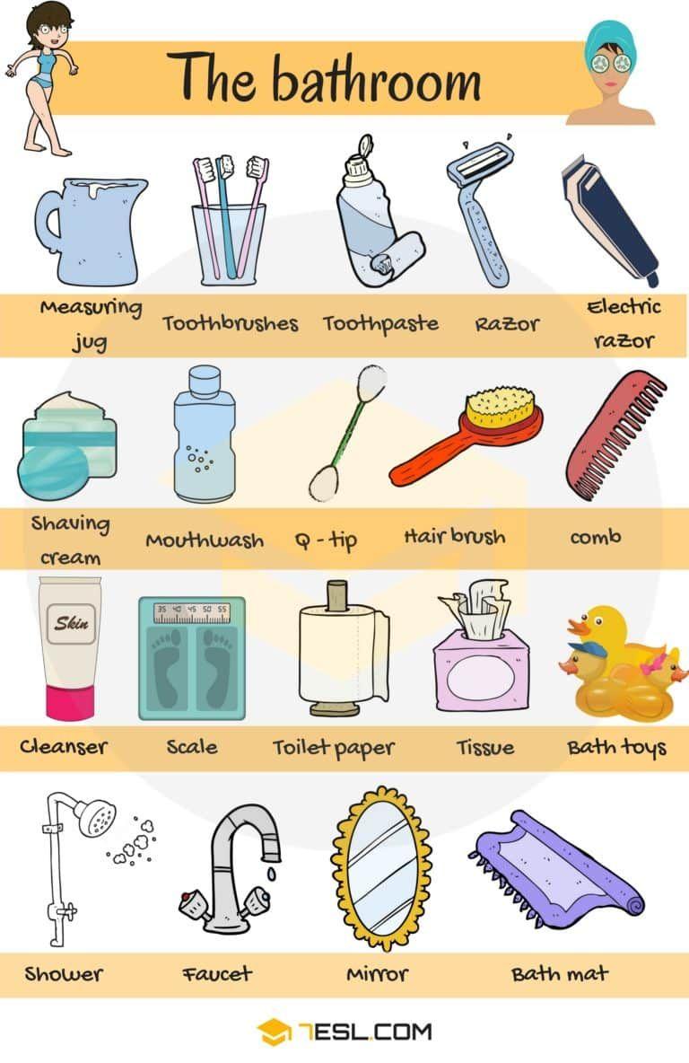 Bathroom Vocabulary Bathroom Accessories Furniture Educacion