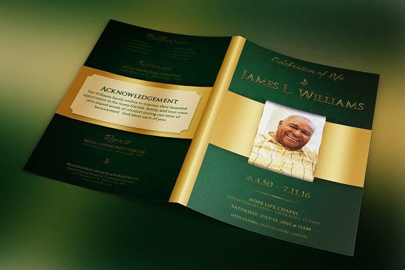 Green Regal Funeral Program Template | Brochure Template