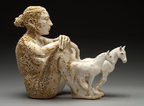 I Am Immediately Drawn To Adrian Arleo S Work And Then Repelled And Drawn Back Again The Honeycomb In The Skin Gets Me Itc Human Sculpture Horse Sculpture Art
