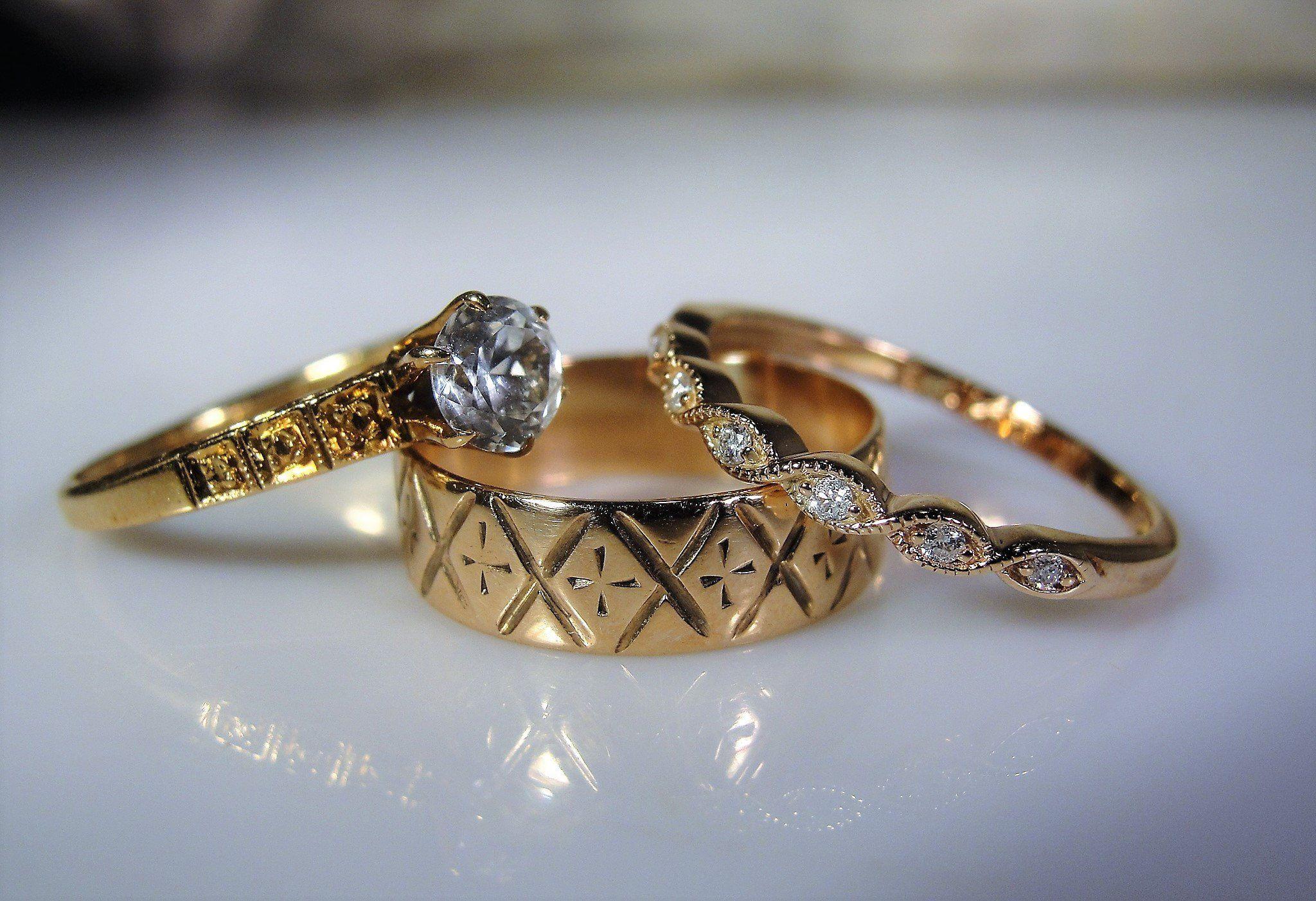 14K Rose Gold, Bridal Ring Set, Victorian Set, Engagement