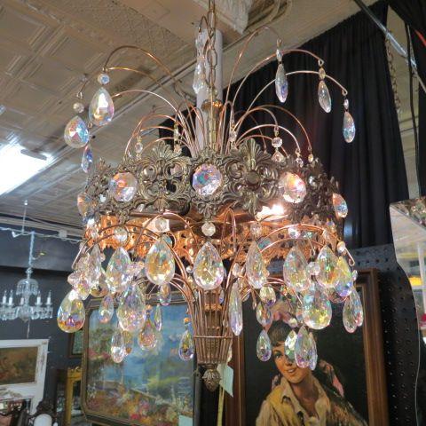 Sold sale vintage antique iridescent ornate art deco chandelier sale vintage antique iridescent ornate art deco chandelier 295 aloadofball Images
