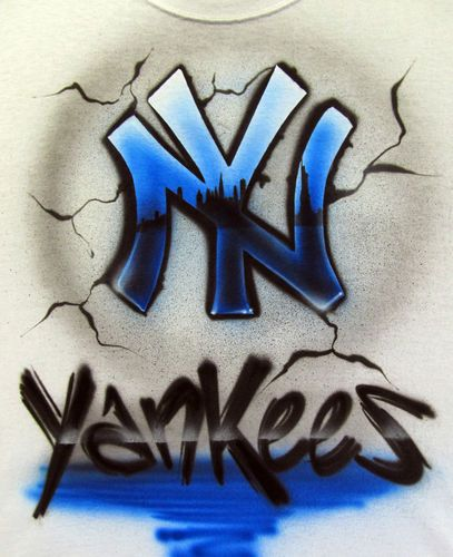 custom airbrushed new york yankees t shirt and hoodie design ebay ny yankee pinterest. Black Bedroom Furniture Sets. Home Design Ideas