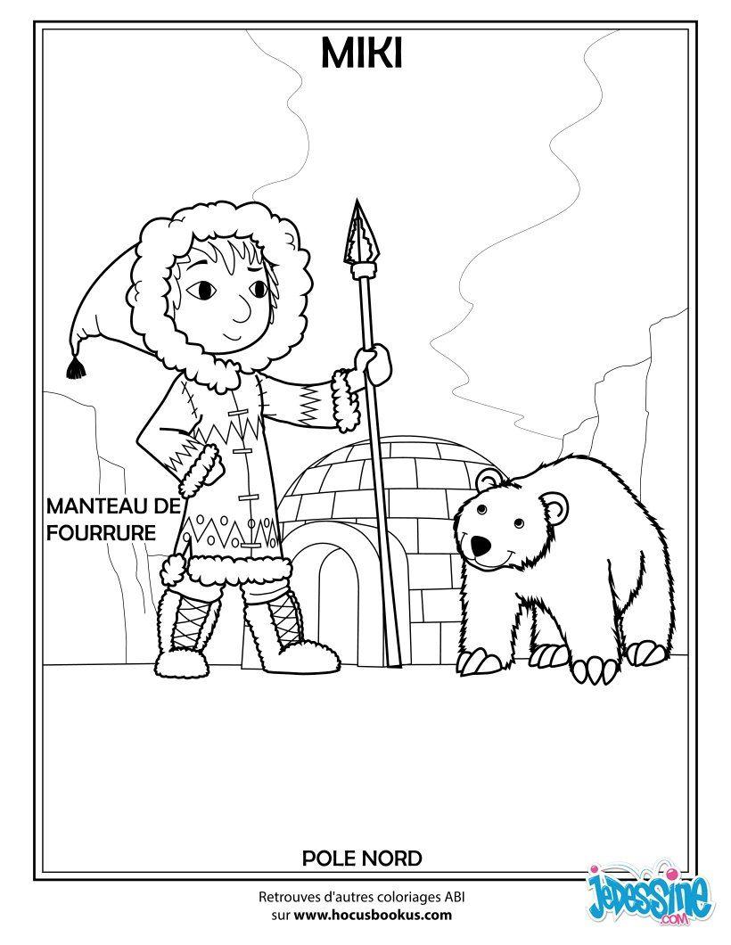 Viens découvrir Miki cette belle inuit et son gros ours polaire Un joli coloriage