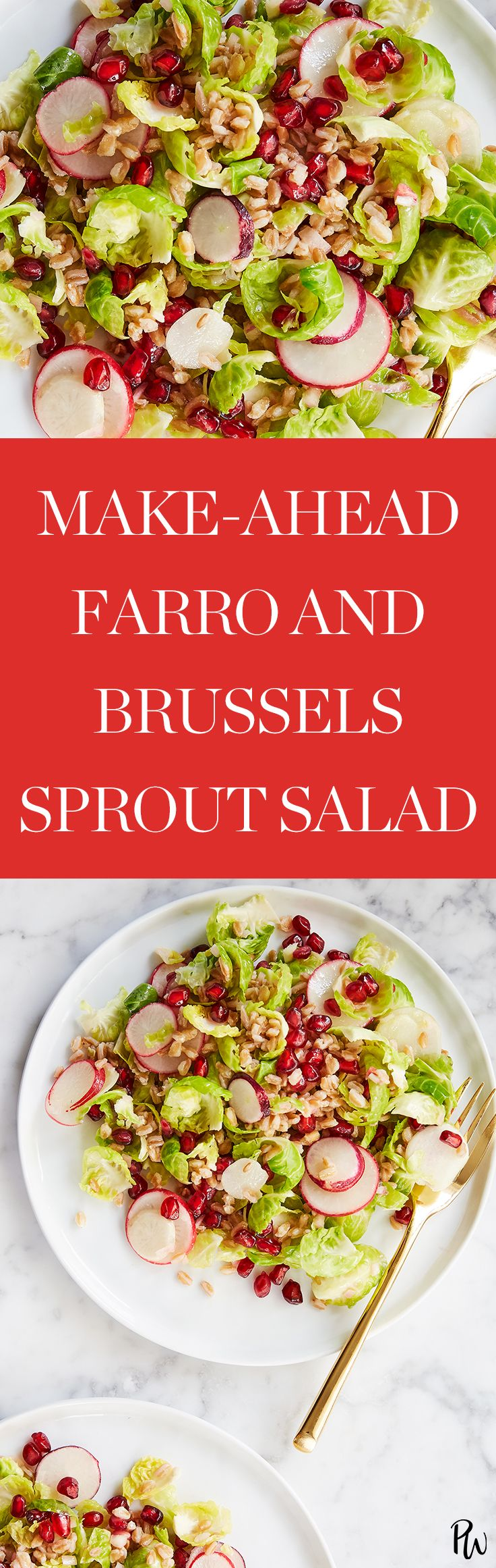 Make Ahead Farro And Brussels Sprout Salad Purewow Food Lunch Recipe Salad Cooking Healthy Brussel Sprout Salad Brussel Sprouts Delicious Salads