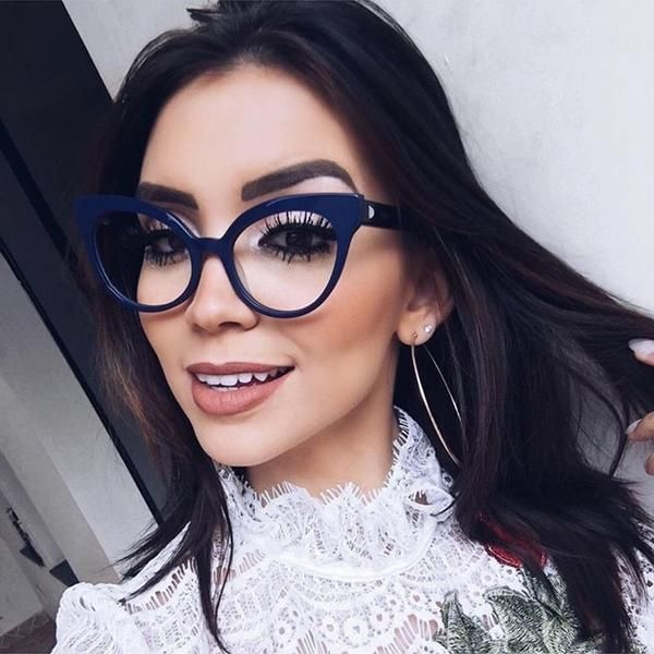 405884700c4c7 ANEDF Women Cat Eye Glasses Fashion Ladies Clear Lens Glasses Frame Blue  Rays Protection BK111  Discounts  BestPrice