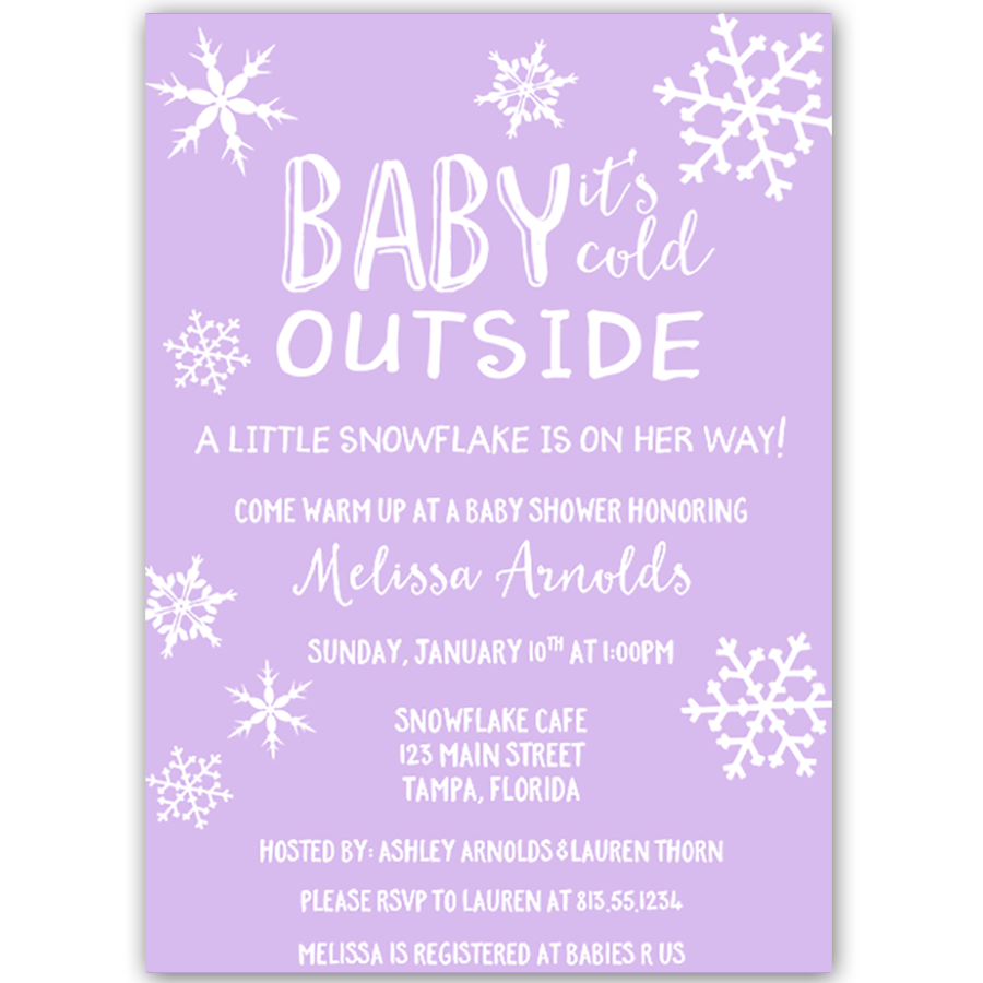 Little Snowflake Purple Baby Shower Invitation   Purple baby showers ...