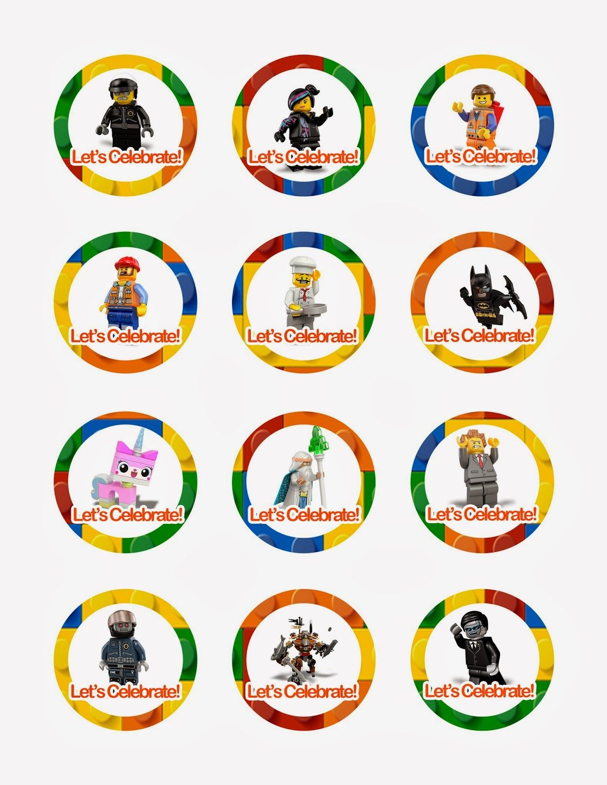 Lego Movie Cupcake Toppers Free Printables Also Has