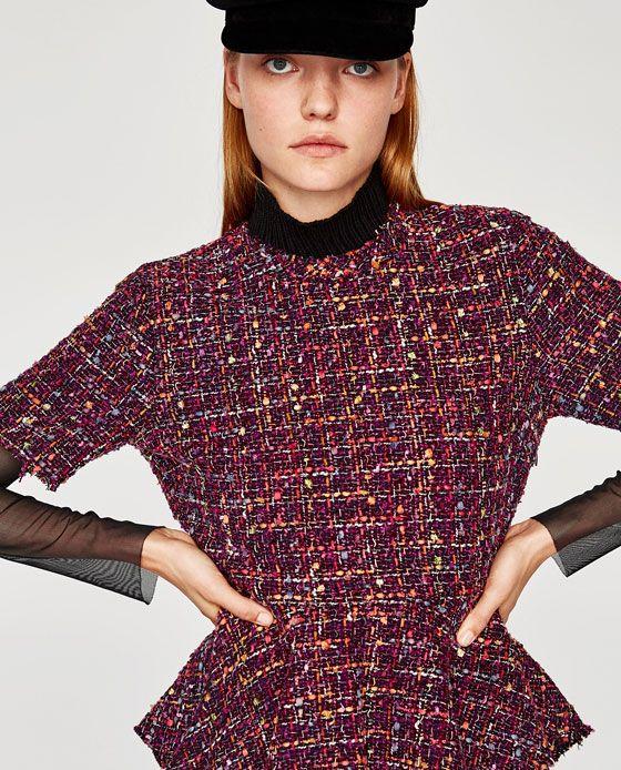 b31f73bf0e1cc5 Image 2 of TWEED PEPLUM TOP from Zara | Clothes | Tops, Tweed, Peplum
