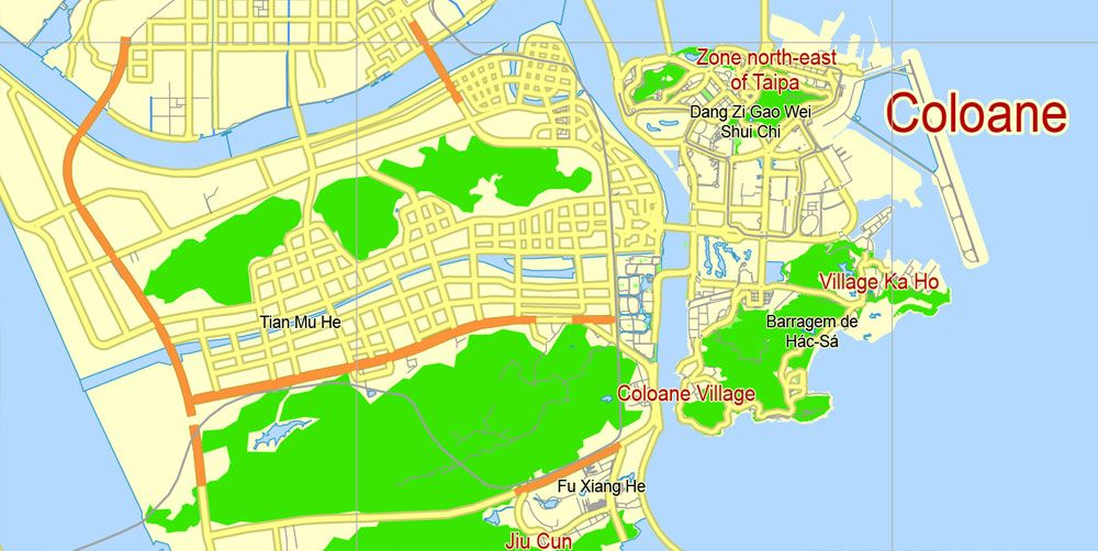 Macau Map Pdf China Printable Vector City Plan 5 Km Scale Full