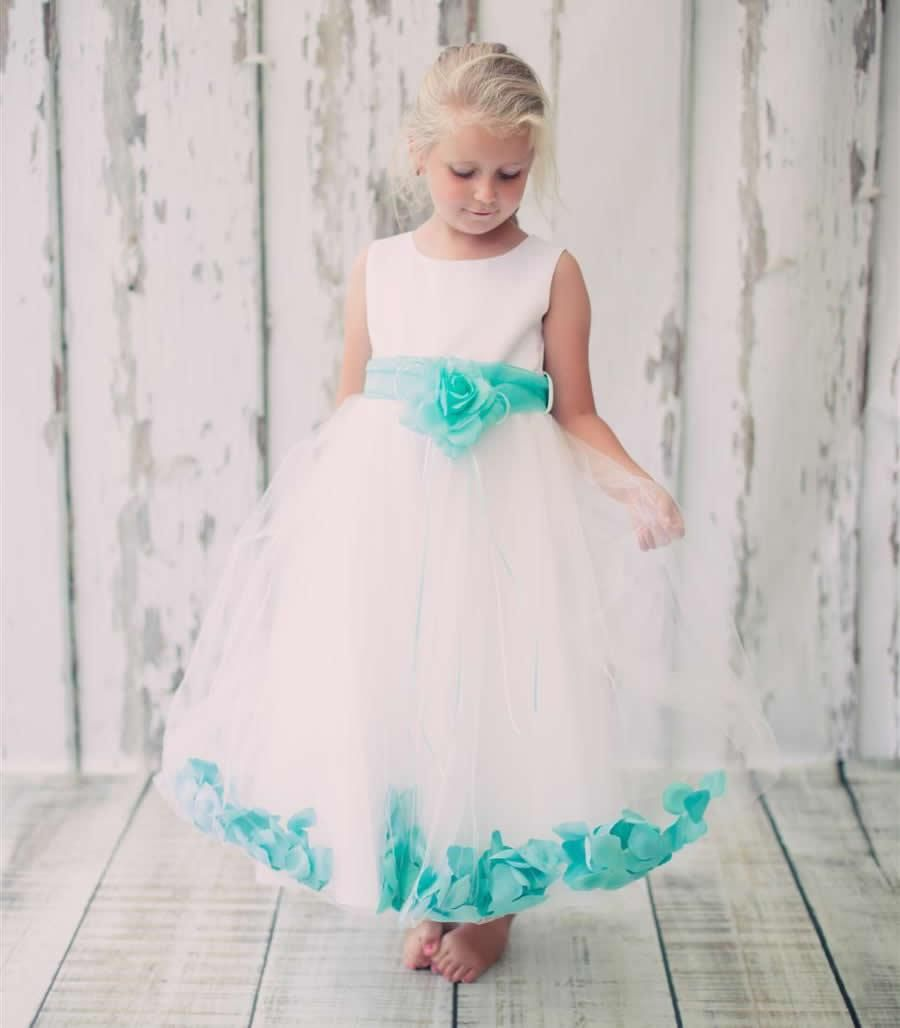 Classic Flower Girl Dress with Aqua Petals and Sash