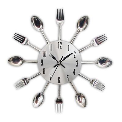 Quirky Silver Kitchen Utensil Wall Clock Orologi Da
