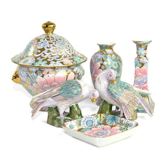Golden Peony Porcelain Collection By Hfp Macau Toyo 6 Pieces