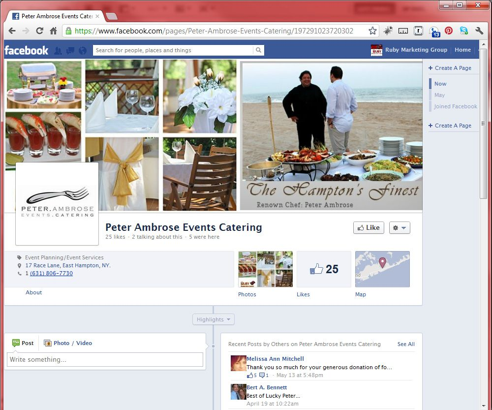 Peter Event Catering  Facebook Fan Page Timeline  Portfolio
