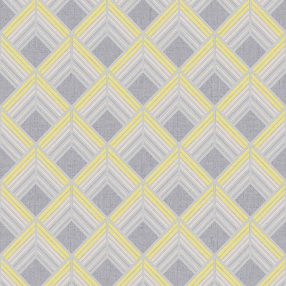 Graham & Brown Trifina Geo Yellow, Grey and Silver