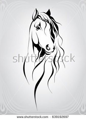 Vector silhouette of a horse's head | diseño | Horse head drawing