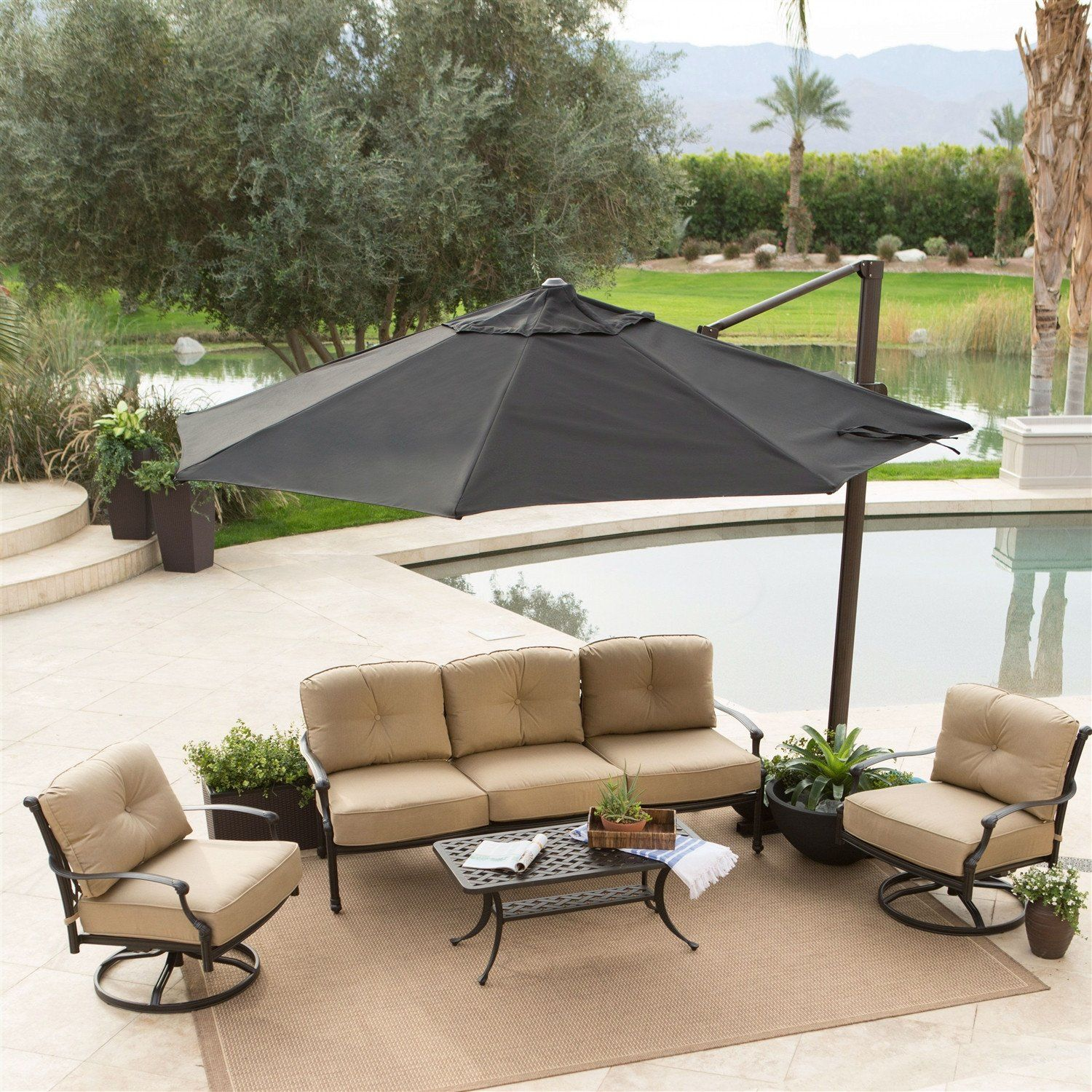 Black 11 FT fset Patio Umbrella With Crank Tilt & Aluminum Pole