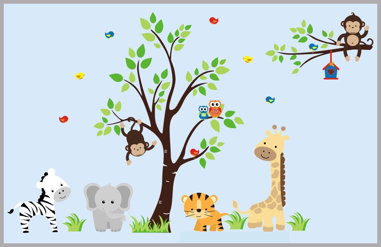 Baby Nursery Furniture Animal Wall Art Zoo Animal Wall Art African Safari Animal Decals Children S Wall Decals And Decor 58 X 96 Nursery Wall Decals Childrens Wall Decals Baby Nursery Art