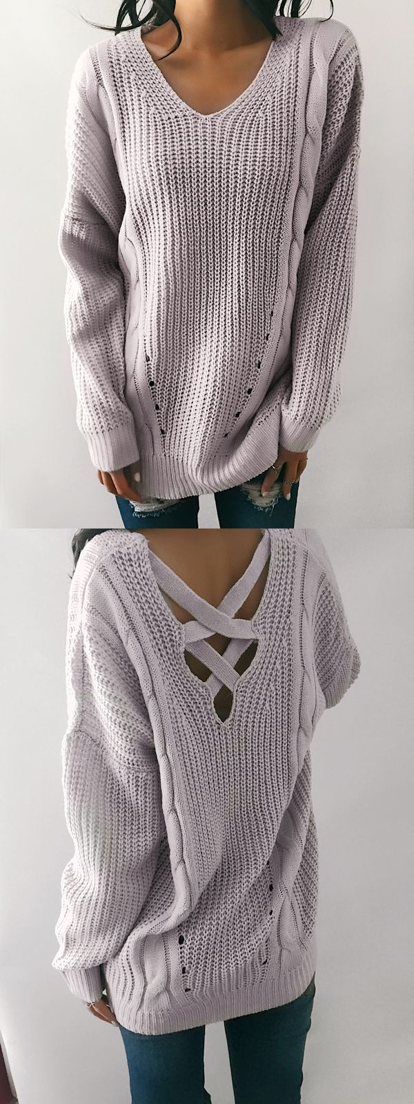 $38.99! Chicnico Sexy Halter Solid Color Sweater.Get ready for Fall fashion! Find fashionable outfits for the new season.