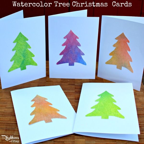 Easy Watercolor Christmas Tree Cards